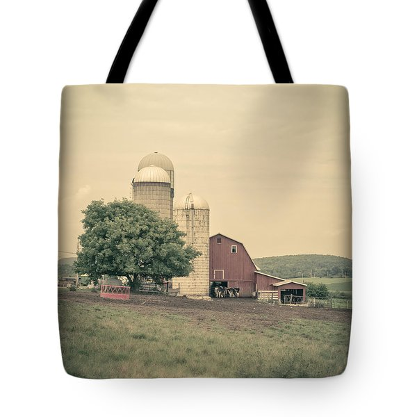 Classic Farm With Red Barn And Silos Tote Bag by Edward Fielding