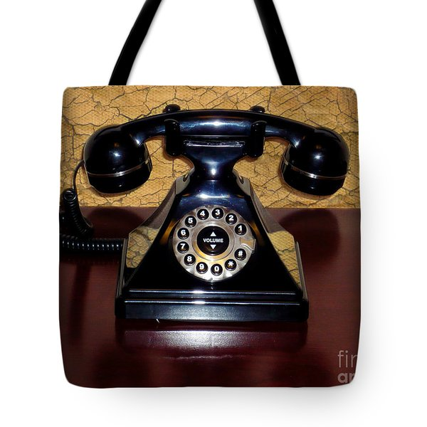 Classic Rotary Dial Telephone Tote Bag by Mariola Bitner