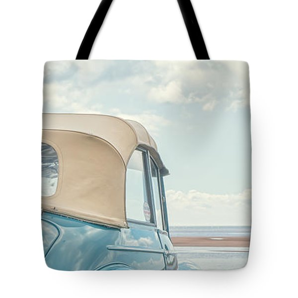 Classic Vintage Morris Minor 1000 Convertible at the beach Tote Bag by Edward Fielding