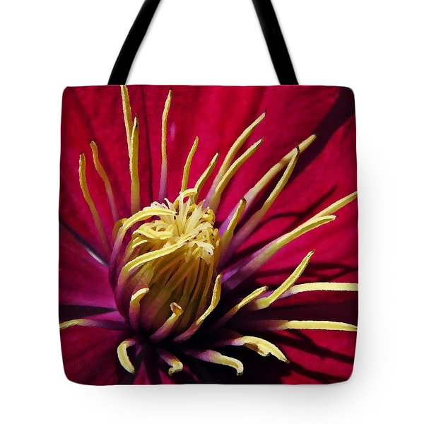 Clematis Center in Oils Tote Bag by Chris Berry
