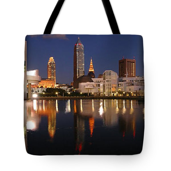 Cleveland Skyline At Dusk Tote Bag by Jon Holiday