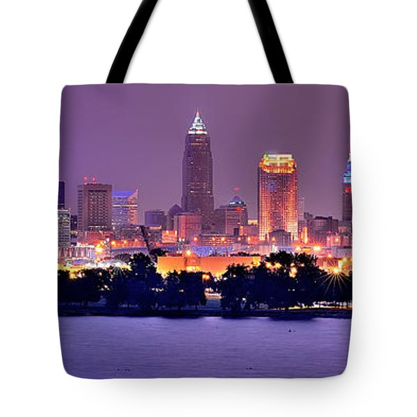 Cleveland Skyline at Night Evening Panorama Tote Bag by Jon Holiday