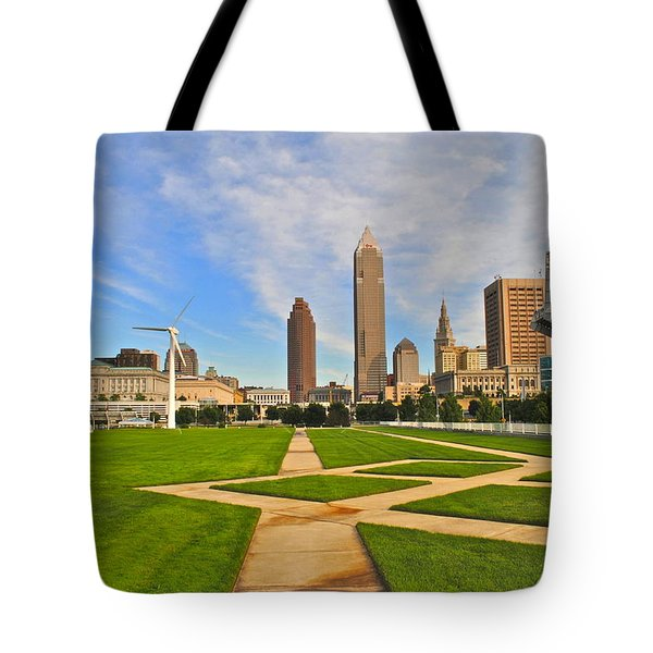 Cleveland Skyline Tote Bag by Frozen in Time Fine Art Photography