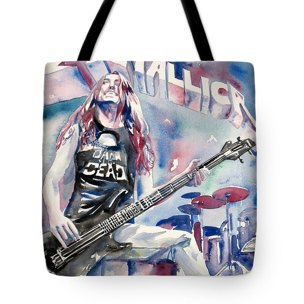 Cliff Burton Playing Bass Guitar Portrait.2 Tote Bag by Fabrizio Cassetta