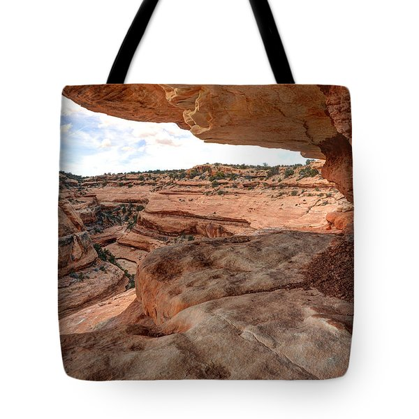Cliff Overhang in Southwest Sandstone Canyon - Utah Tote Bag by Gary Whitton