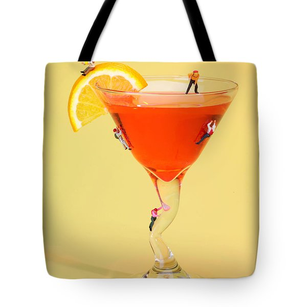 Climbing On Red Wine Cup Tote Bag by Paul Ge