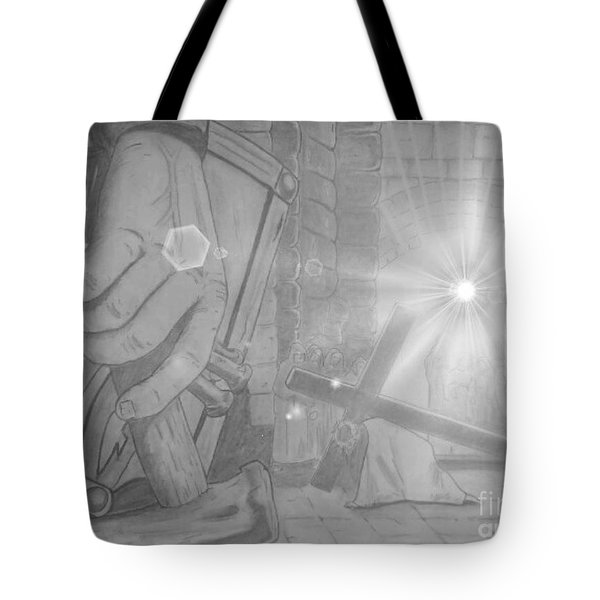 Clinging To The Cross Lights Tote Bag by Justin Moore