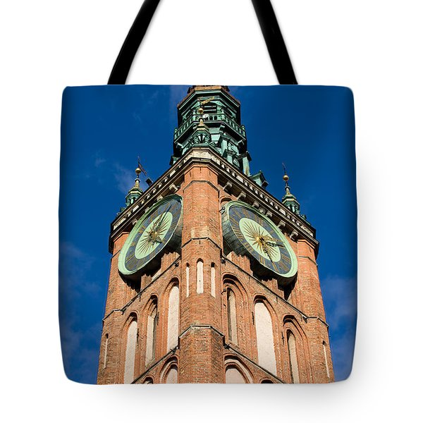 Clock Tower Of Main Town Hall In Gdansk Tote Bag by Artur Bogacki