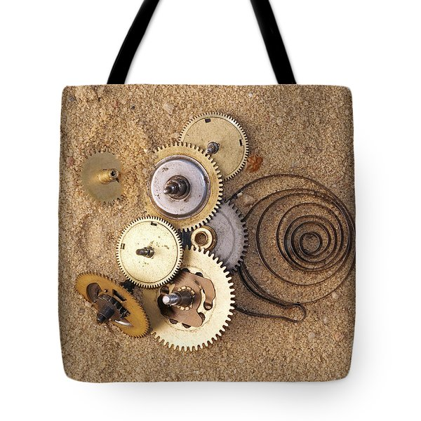 Clockwork Mechanism On The Sand Tote Bag by Michal Boubin