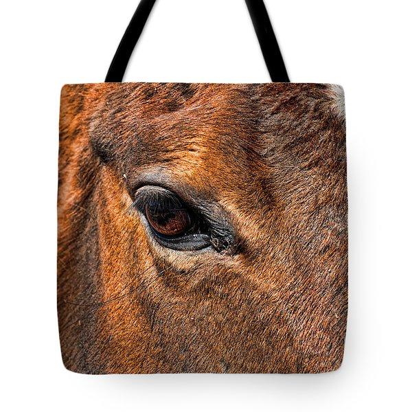 Close up of a horse eye Tote Bag by Paul Ward