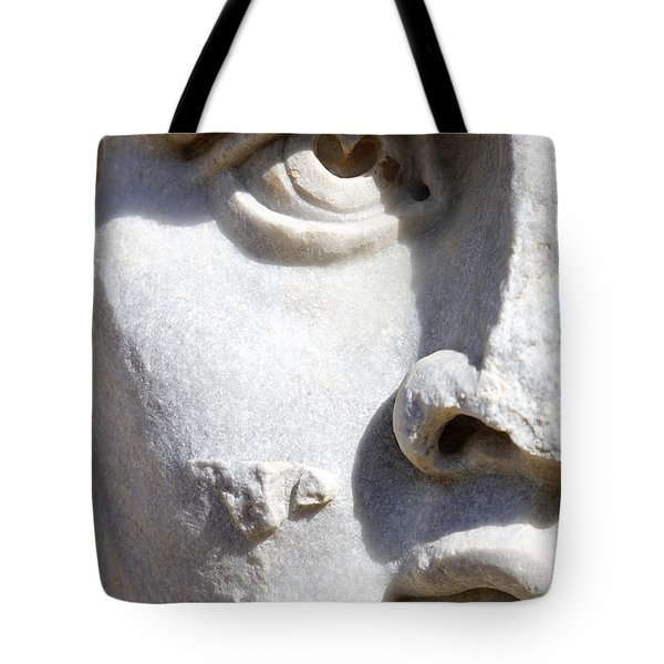 Close Up Of A Sculpted Medusa Head At The Forum Of Severus At Leptis Magna In Libya Tote Bag by Robert Preston