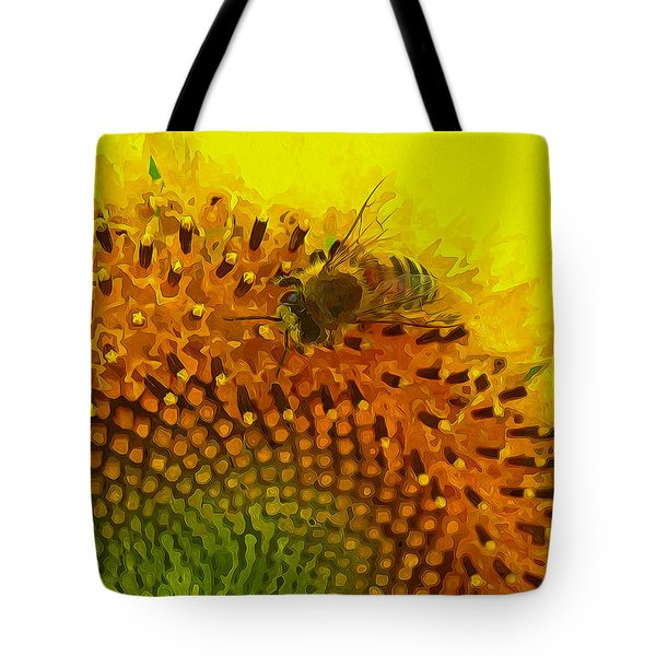 Close up of bee on sunflower 1 Tote Bag by Lanjee Chee