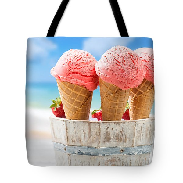 Close Up Strawberry Ice Creams Tote Bag by Amanda Elwell