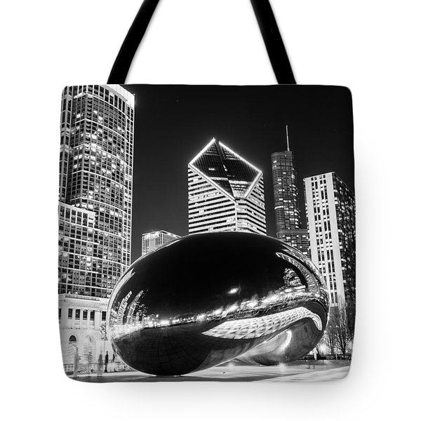 Cloud Gate Chicago Bean Black And White Picture Tote Bag by Paul Velgos