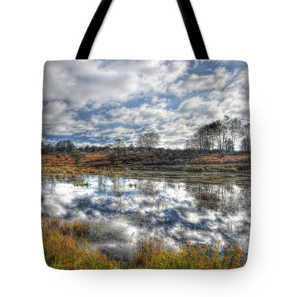 Cloud Reflections In Beaver Pond Canaan Valley Tote Bag by Dan Friend
