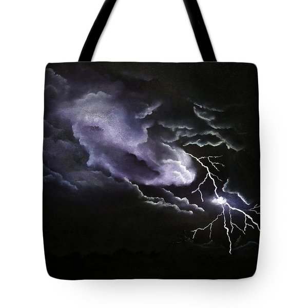 Cloud To Ground Tote Bag by Cynthia Lassiter