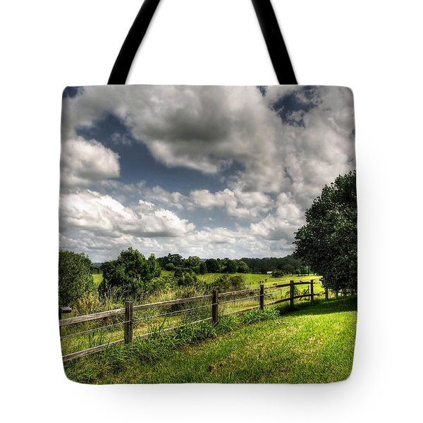 Cloudy Day In The Country Tote Bag by Kaye Menner