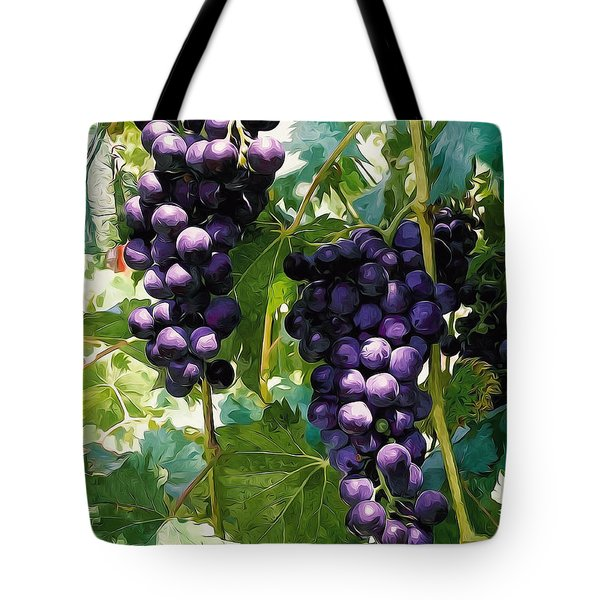Clusters Of Red Wine Grapes Hanging On The Vine Tote Bag by Lanjee Chee