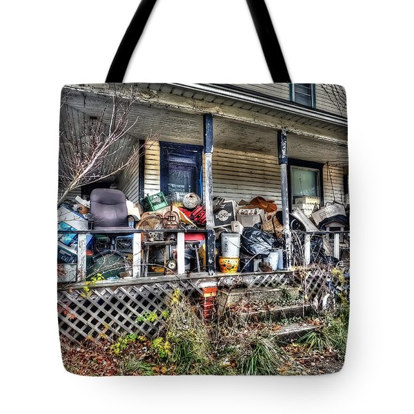 Clutter House Porch  Tote Bag by Dan Friend