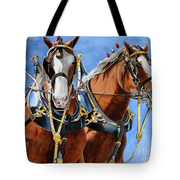 Clydesdale Duo Tote Bag by Debbie Hart