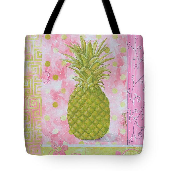 Coastal Decorative Pink Green Floral Greek Pattern Fruit Art Fresh Pineapple By Madart Tote Bag by Megan Duncanson