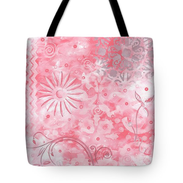 Coastal Decorative Pink Peach Floral Chevron Pattern Art Pink Whimsy By Madart Tote Bag by Megan Duncanson