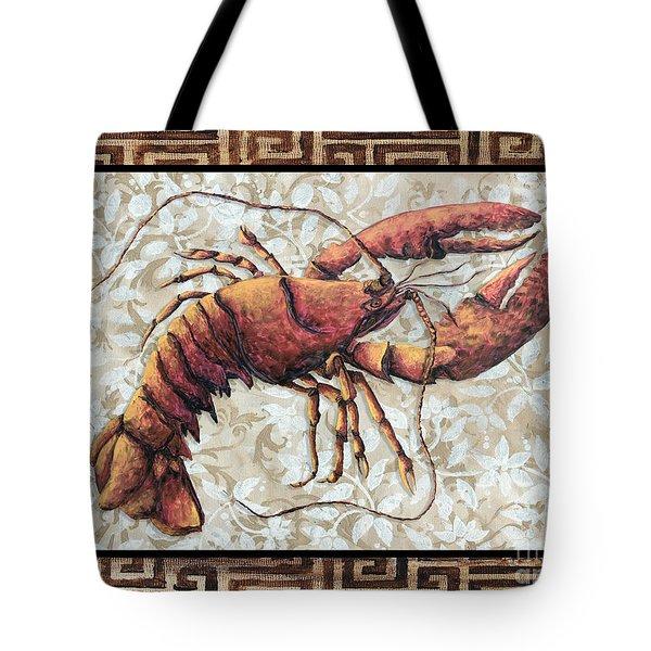 Coastal Lobster Decorative Painting Greek Border Design By Madart Studios Tote Bag by Megan Duncanson