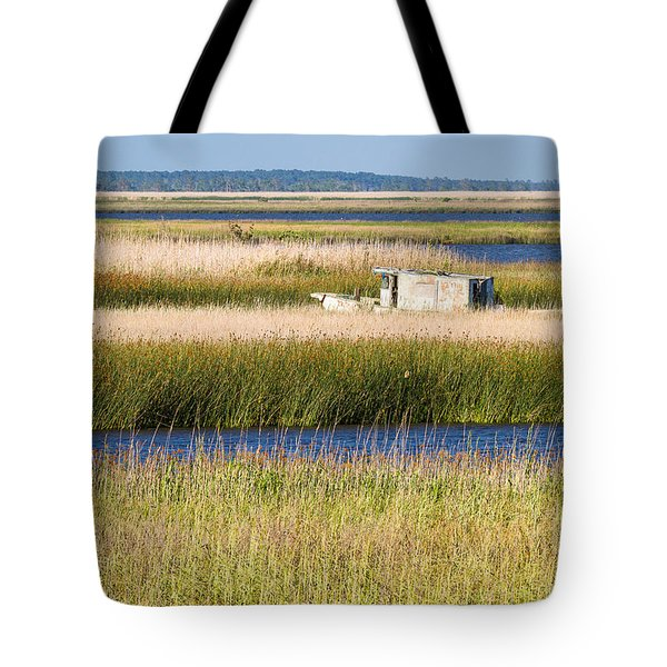 Coastal Marshlands With Old Fishing Boat Tote Bag by Bill Swindaman