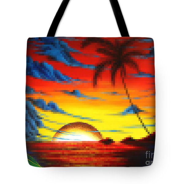 Coastal Tropical Abstract Colorful Pixel Art Digital Painting Compilation Tropical Bliss By Madart Tote Bag by Megan Duncanson