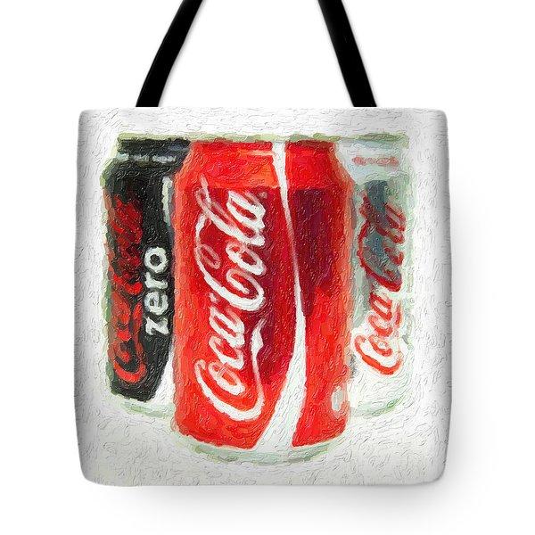 Coca Cola Art Impasto Tote Bag by Antony McAulay