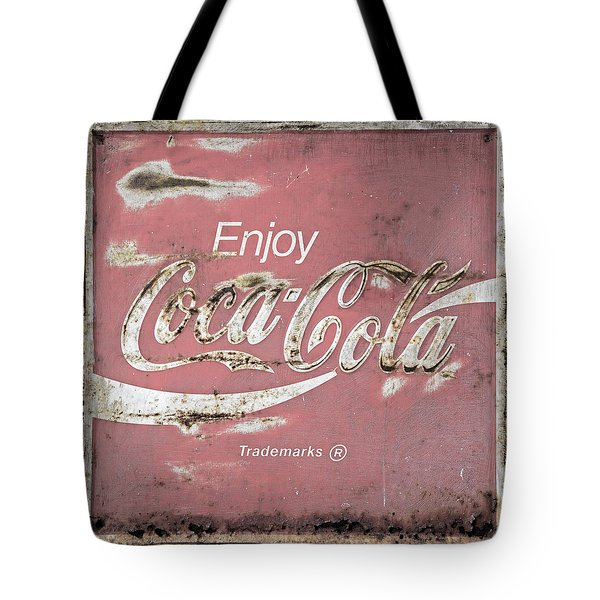 Coca Cola Pastel Grunge Sign Tote Bag by John Stephens