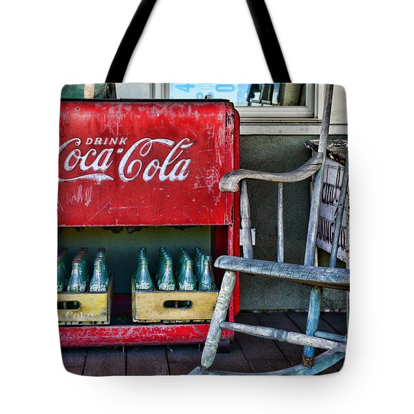 Coca Cola Vintage Cooler And Rocking Chair Tote Bag by Paul Ward