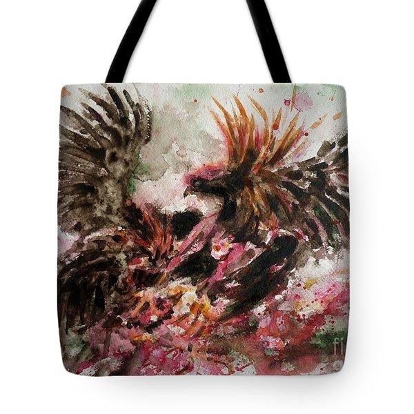 Cockfight Tote Bag by Zaira Dzhaubaeva