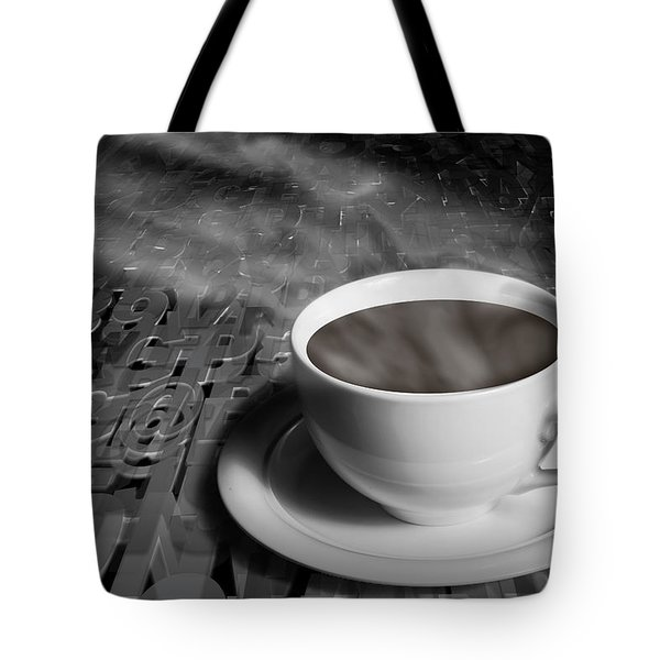 Coffe Cup And Saucer With Alphabet Lettering Tote Bag by Randall Nyhof