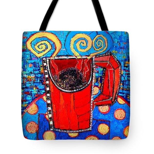 Coffee Cups Triptych Tote Bag by Ana Maria Edulescu