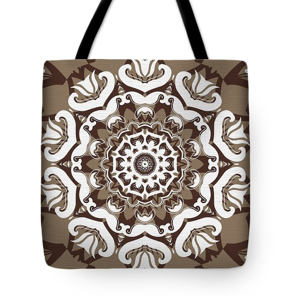 Coffee Flowers 10 Ornate Medallion Tote Bag by Angelina Vick