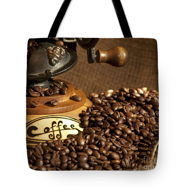 Coffee Grinder With Beans Tote Bag by Gunter Nezhoda