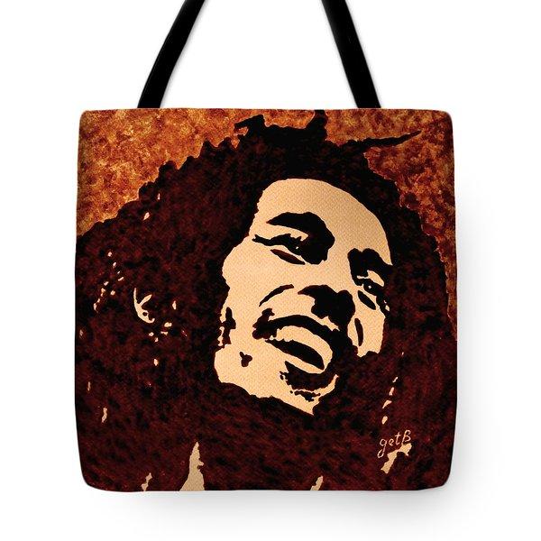 Coffee Painting Bob Marley Tote Bag by Georgeta  Blanaru