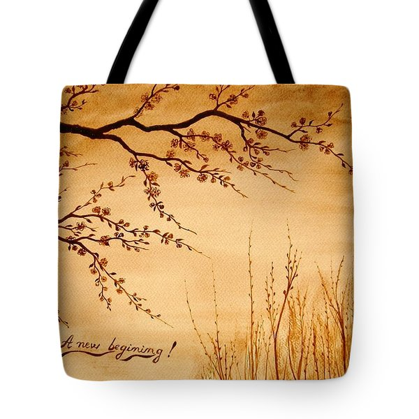 Coffee Painting Cherry Blossoms Tote Bag by Georgeta  Blanaru