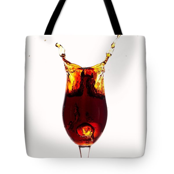 Coke splashing in the cup liquid art Tote Bag by Paul Ge