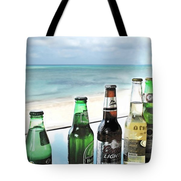 Cold Beers in Paradise Tote Bag by Joan  Minchak
