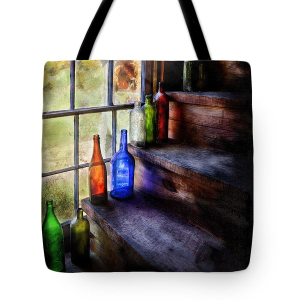 Collector - Bottle - A collection of bottles Tote Bag by Mike Savad