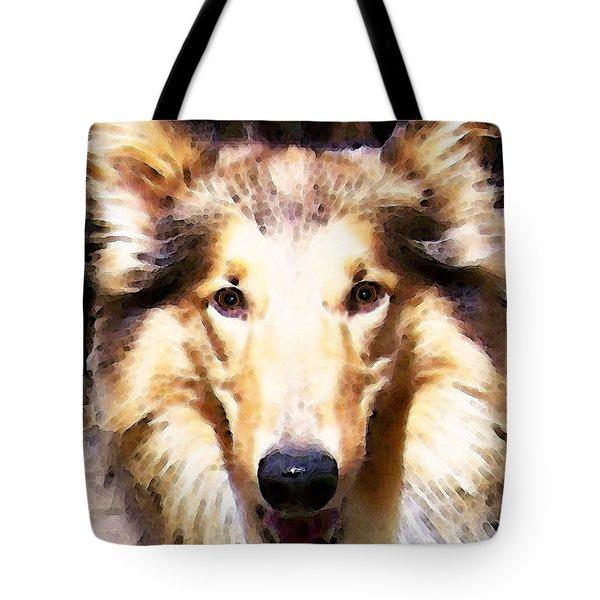 Collie Dog Art - Sunshine Tote Bag by Sharon Cummings