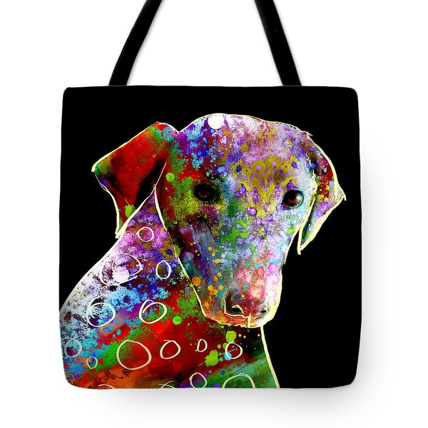 Color Splash Abstract Dog Art  Tote Bag by Ann Powell