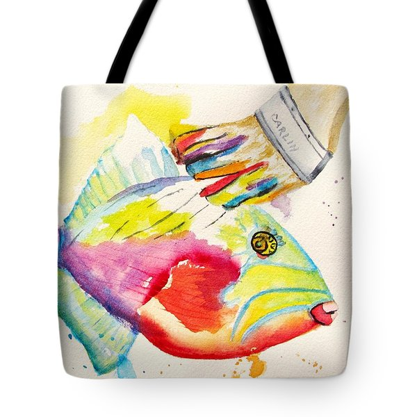 Color Transition - Triggerfish Tote Bag by Carlin Blahnik