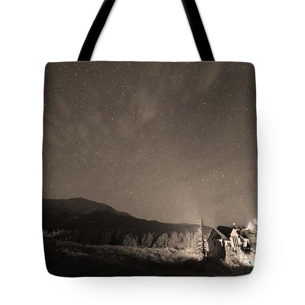 Colorado Chapel On The Rock Dreamy Night Sepia Sky Tote Bag by James BO  Insogna