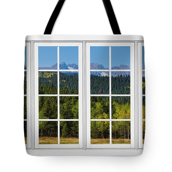 Colorado Rocky Mountains White Window Frame View Tote Bag by James BO  Insogna