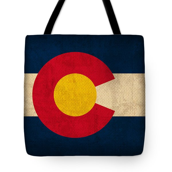 Colorado State Flag Art On Worn Canvas Tote Bag by Design Turnpike