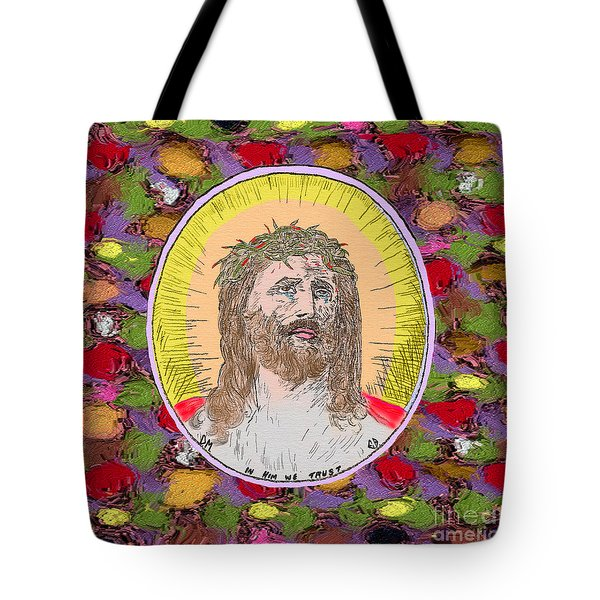 Colored Background Jesus Tote Bag by Donna Munro