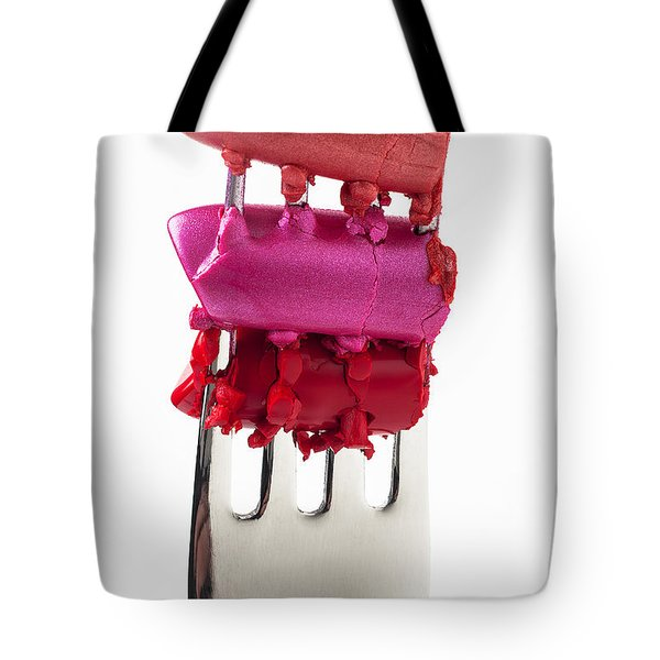 Colored lipstick On Fork Tote Bag by Garry Gay